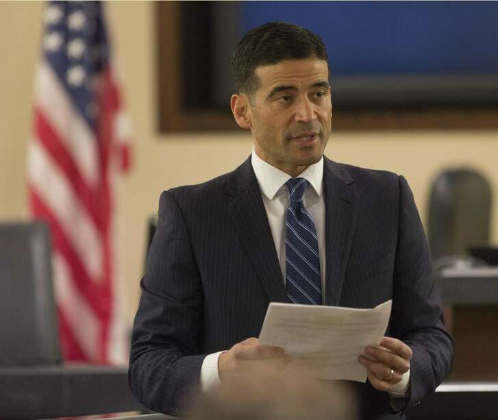 Bexar County District Attorney Nico LaHood reads the indictment Tuesday, Jan. 9, 2017 at the start of a trial LaHood is personally prosecuting.