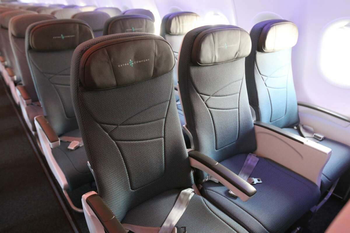 Interior of Hawaiian Airlines new Airbus A321neo jet, which holds 189 passengers