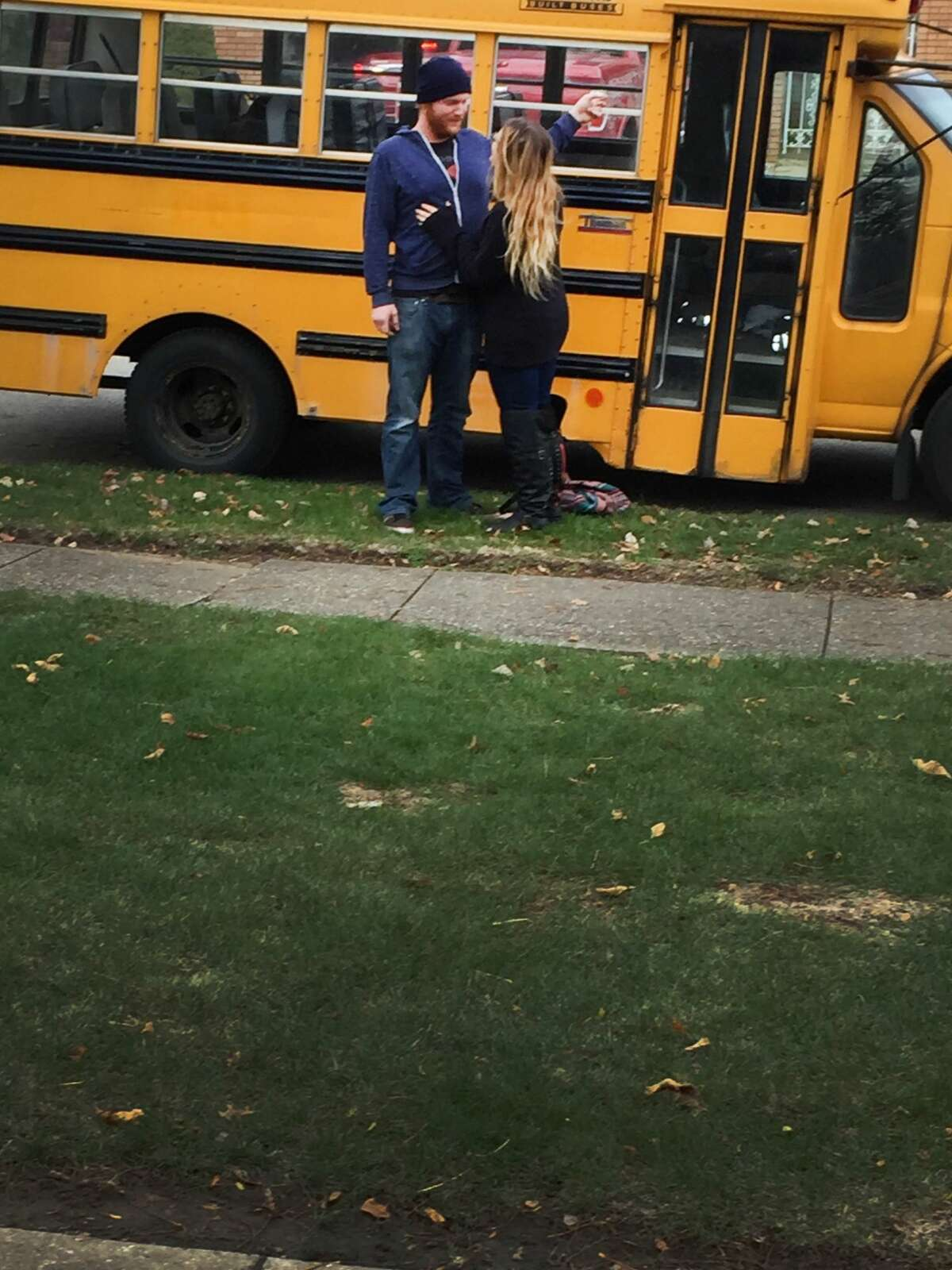 When the couple first got the bus, it was still painted that signature school bus yellow.