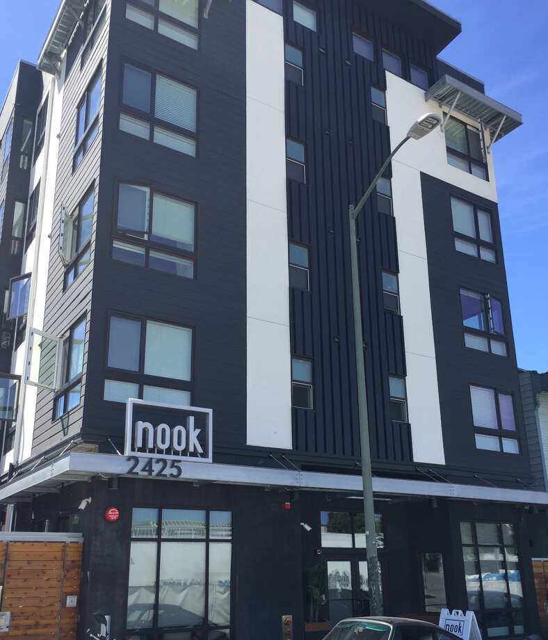 Here's a look at the outside of the building at 2425 Valdez St., near the intersection of 27th Street and Broadway in Oakland.Click through this slideshow to see inside one of the micro-apartments. Photo: The Nook On Valdez