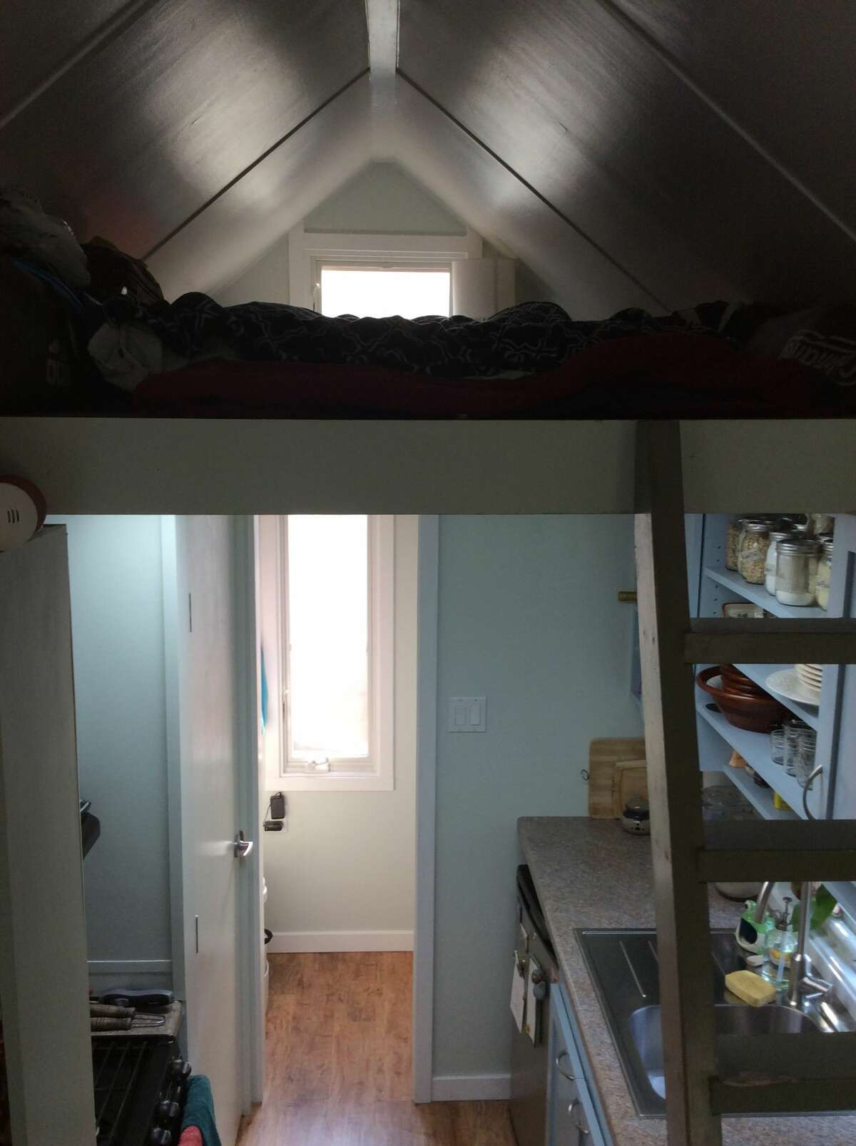 A view from higher up shows how small the sleeping area is. The clearance is about 30 inches at its highest point, according to Aileen Brown.
