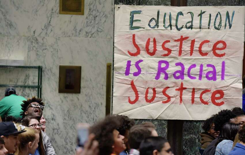 Public school students, parents and community members take part in an rally at the Legislative Office Building on Tuesday, Jan. 9, 2018, in Albany, N.Y. The children and adults held the rally to call for racial and economic equity in New York?'s education system. (Paul Buckowski / Times Union)