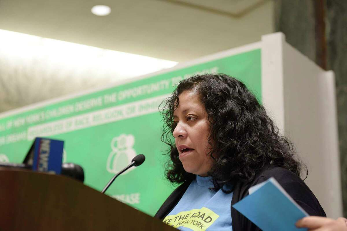 Maria Teresa Quiroz, a parent of a student in public school in New York City, addresses those gathered at a rally at the Legislative Office Building on Tuesday, Jan. 9, 2018, in Albany, N.Y. Public school students, parents and community members held the rally to call for racial and economic equity in New York?'s education system. (Paul Buckowski / Times Union)