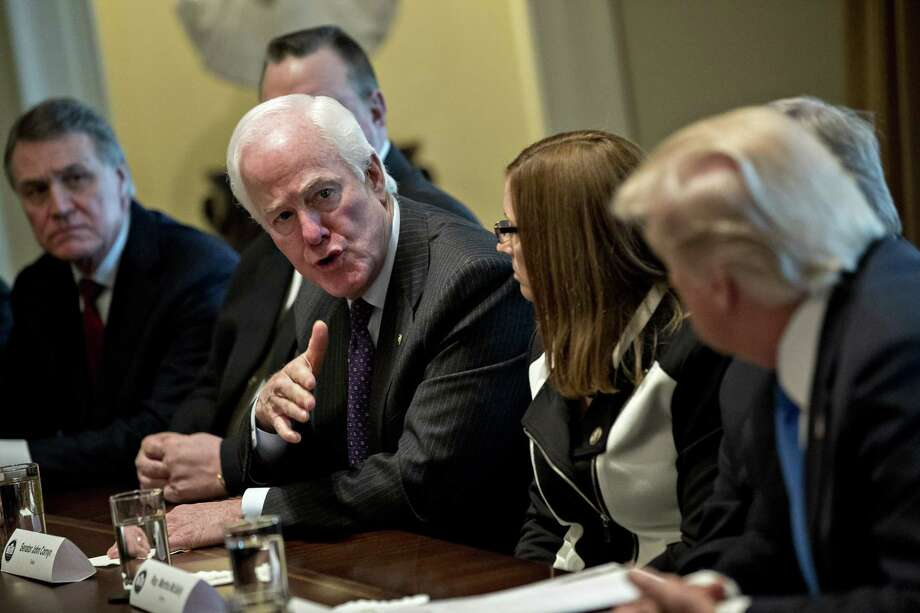 Senate Majority Whip John Cornyn addresses Tuesday's bipartisan meeting on immigration held by President Donald Trump. Cornyn cautioned that talks  between Republicans and Democrats would mean little without Trump's buy-in. Photo: Andrew Harrer / © 2018 Bloomberg Finance LP