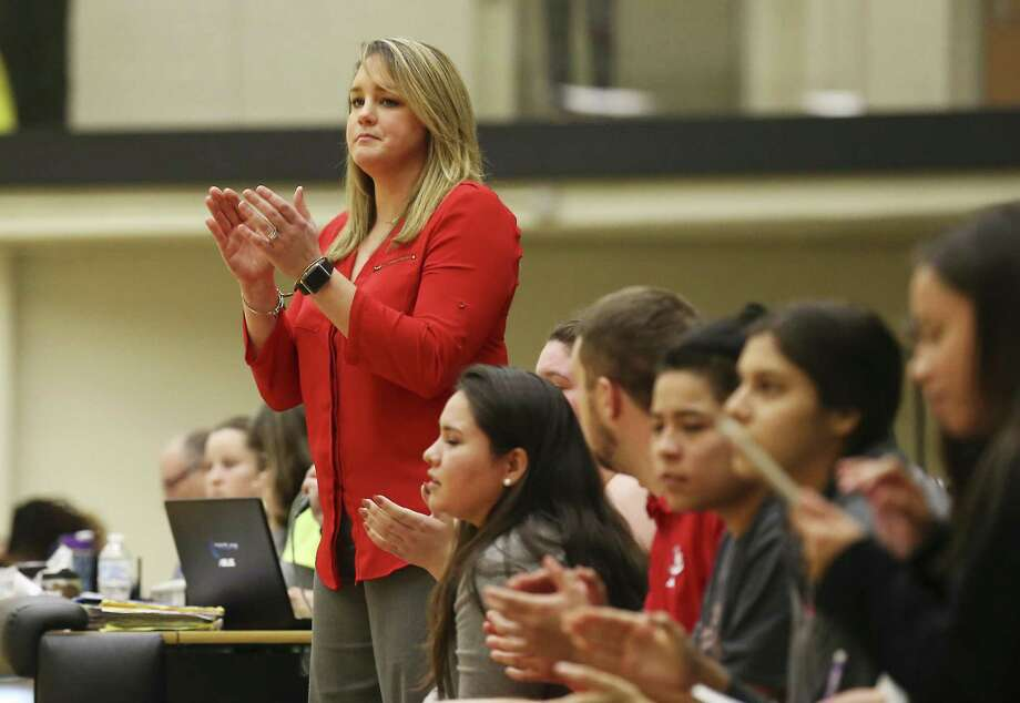 Lee girls basketball coach Dru Weeaks supervises her team against Johnson in girls basketball at Littleton Gym on Tuesday, Jan. 8, 2018. Lee defeated Johnson, 76-51, in district play. (Kin Man Hui/San Antonio Express-News) Photo: Kin Man Hui, Staff / San Antonio Express-News / ©2018 San Antonio Express-News