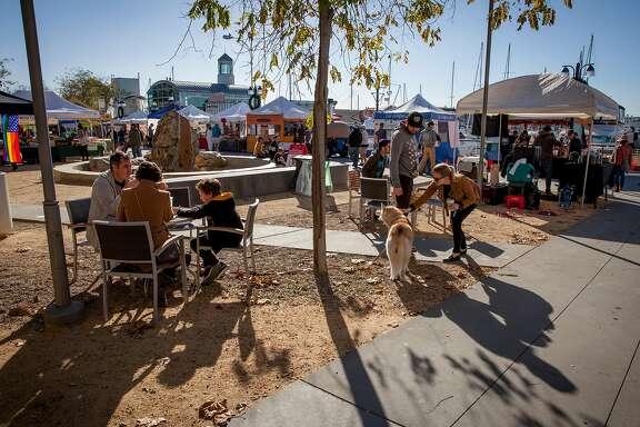 Jack London Square's farmers' market in Oakland, California, USA 17 Dec 2017.