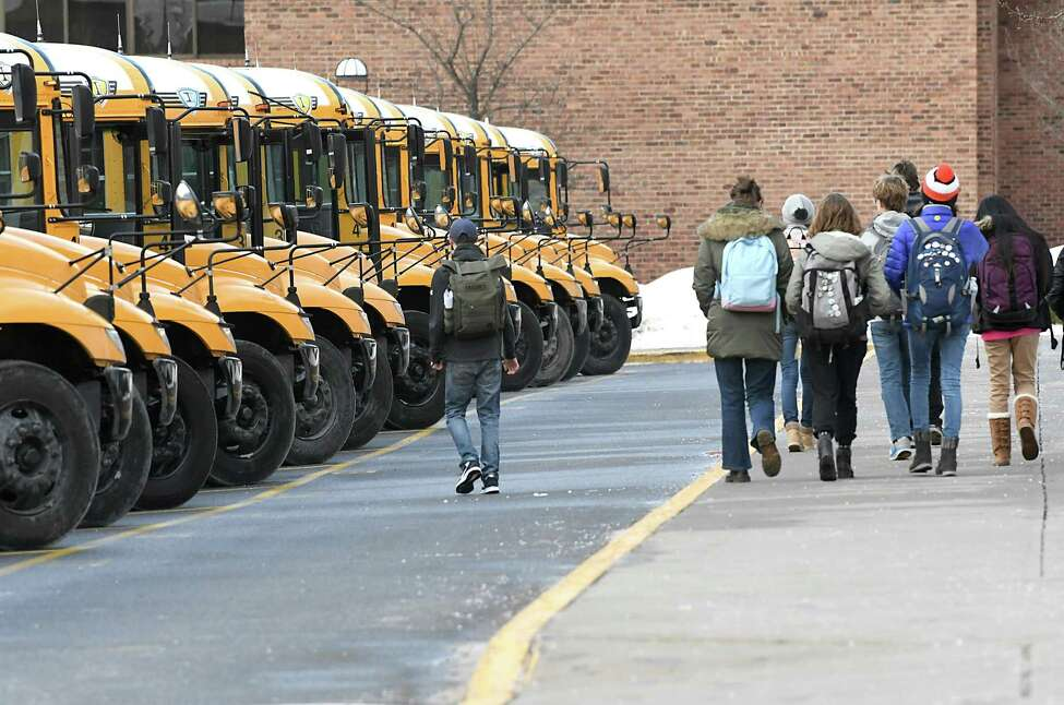 School buses pick up students at Saratoga High School on Tuesday Jan. 9, 2018 in Saratoga Springs, N.Y. (Lori Van Buren / Times Union)