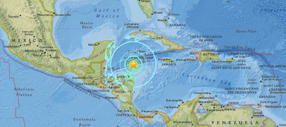The United States Geological Survey reported a preliminary magnitude 7.6 earthquake struck near Great Swan Island, Honduras on Tuesday. Photo: USGS/Screenshot