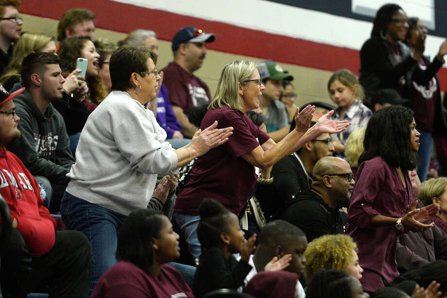 Silsbee fans cheer on the boys' basketball team against Hardin-Jefferson at Hardin-Jefferson High School on Tuesday evening.  Photo taken Tuesday 1/9/18 Ryan Pelham/The Enterprise Photo: Ryan Pelham / ©2017 The Beaumont Enterprise/Ryan Pelham