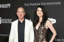 LOS ANGELES, CALIFORNIA - JANUARY 06:  Chief Executive Officer of Amazon Jeff Bezos (L) and MacKenzie Bezos attend the SEAN PENN J/P HRO GALA: A Gala Dinner to Benefit J/P Haitian Relief Organization and a Coalition of Disaster Relief Organizations at Milk Studios on January 6, 2018 in Los Angeles, California.  (Photo by Greg Doherty/Patrick McMullan via Getty Image)