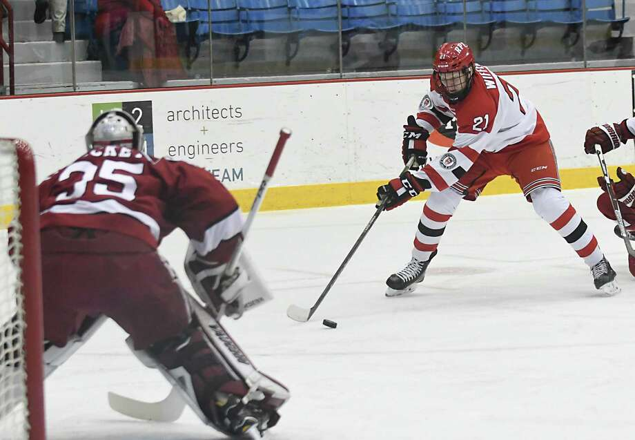 Rensselaer Polytechnic Institute's Brady Wiffen tries to get a shot off during a hockey game against Harvard at RPI Houston Field House on Tuesday Jan. 9, 2018 in Troy, N.Y. (Lori Van Buren / Times Union) Photo: Lori Van Buren / 20042606A