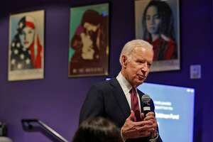 Former Vice President Joe Biden speaks with teens at a workshop on political activism at the San Francisco Jewish Community Center in San Francisco, Calif., on Tuesday, January 9, 2018.