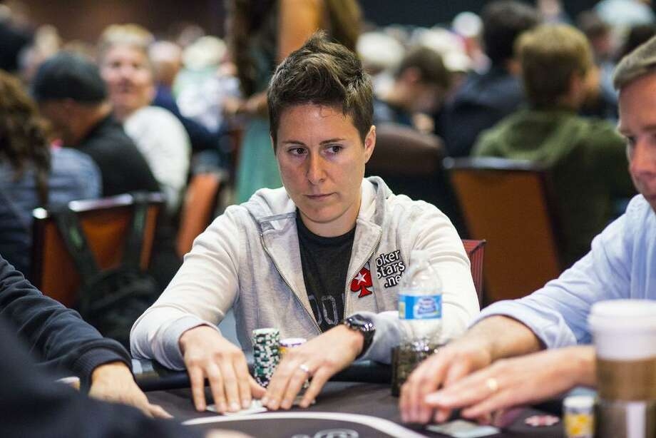 Vanessa Selbst competing in a 2014 poker tournament.