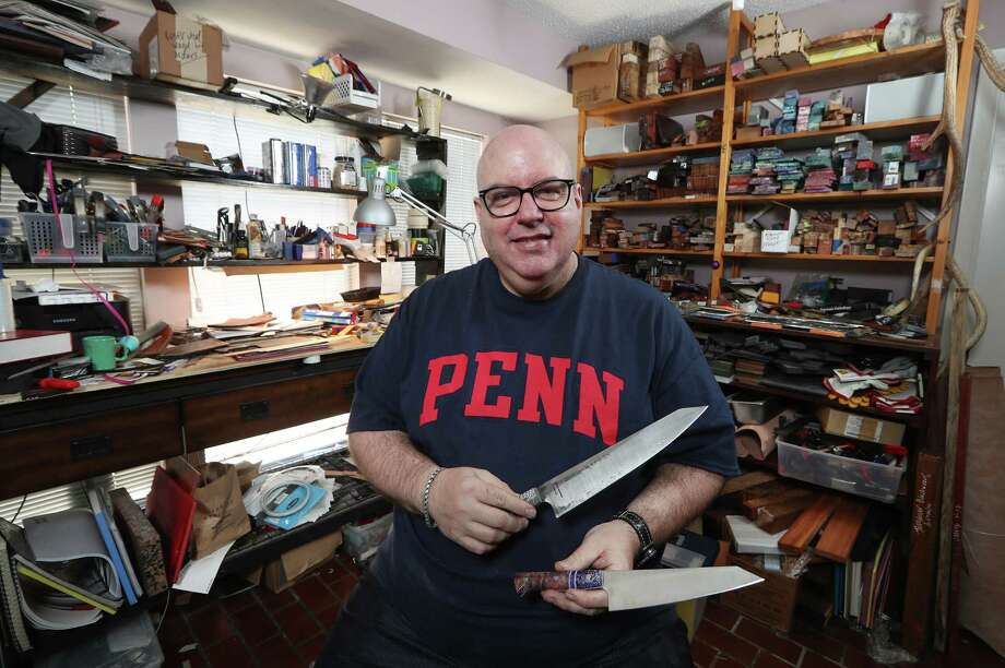 Stephen Pustilnik makes custom knives for chefs and pathologists out of his home Monday, Dec. 11, 2017, in Houston. ( Steve Gonzales / Houston Chronicle ) Photo: Steve Gonzales, Houston Chronicle / © 2017 Houston Chronicle
