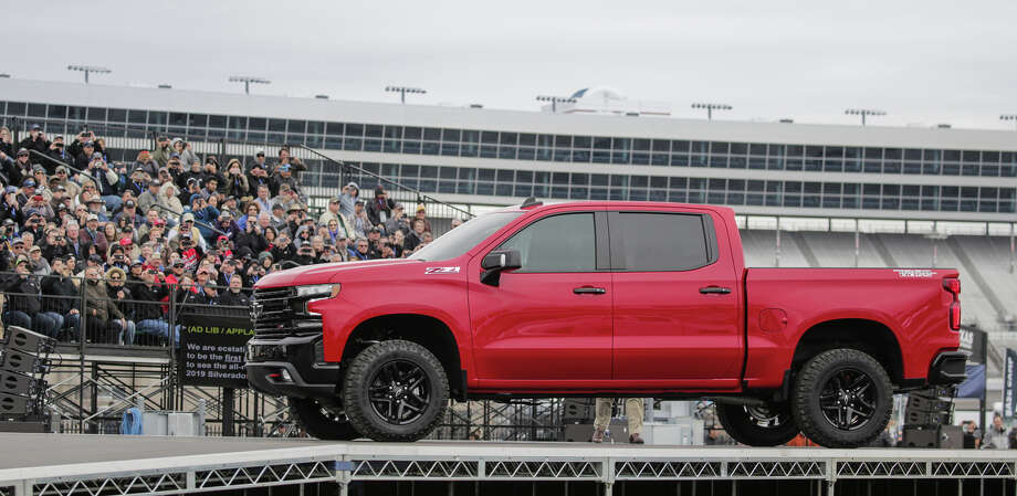 The 2019 Silverado 1500 Trailboss airlifted into Texas Motor Speedway by helicopter will sport the off-road equipment of the Z71 package and have a factory two-inch suspension lift fully tested and warrantied by Chevrolet. Photo: Chevrolet Photo