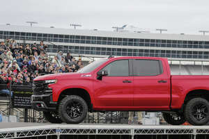 The 2019 Silverado 1500 Trailboss airlifted into Texas Motor Speedway by helicopter will sport the off-road equipment of the Z71 package and have a factory two-inch suspension lift fully tested and warrantied by Chevrolet.