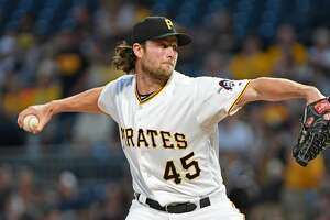 PITTSBURGH, PA - SEPTEMBER 23:  Gerrit Cole #45 of the Pittsburgh Pirates delivers a pitch in the first inning during the game against the St. Louis Cardinals at PNC Park on September 23, 2017 in Pittsburgh, Pennsylvania. (Photo by Justin Berl/Getty Images)