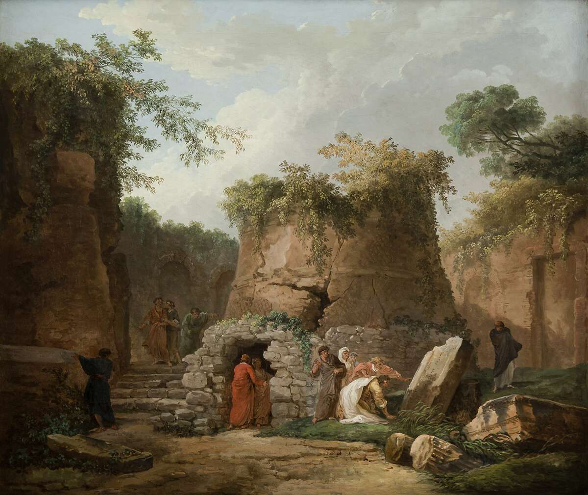 """This undated image provided by the La Salle University Art Museum in Philadelphia shows a 1784 oil-on-canvas work by French painter Hubert Robert titled """"The Tomb of Virgil at Posilipo, near Naples."""" The painting is one of 46 artworks that La Salle University in Philadelphia announced Tuesday, Jan. 2, 2018, it will sell through Christie's auction house to help fund the Roman Catholic university's five-year plan. A university spokeswoman says the sale, tentatively set to begin in March 2018, could bring between $4 million and $7 million, and possibly much more. (Jack Ramsdale/La Salle University Art Museum via AP)"""