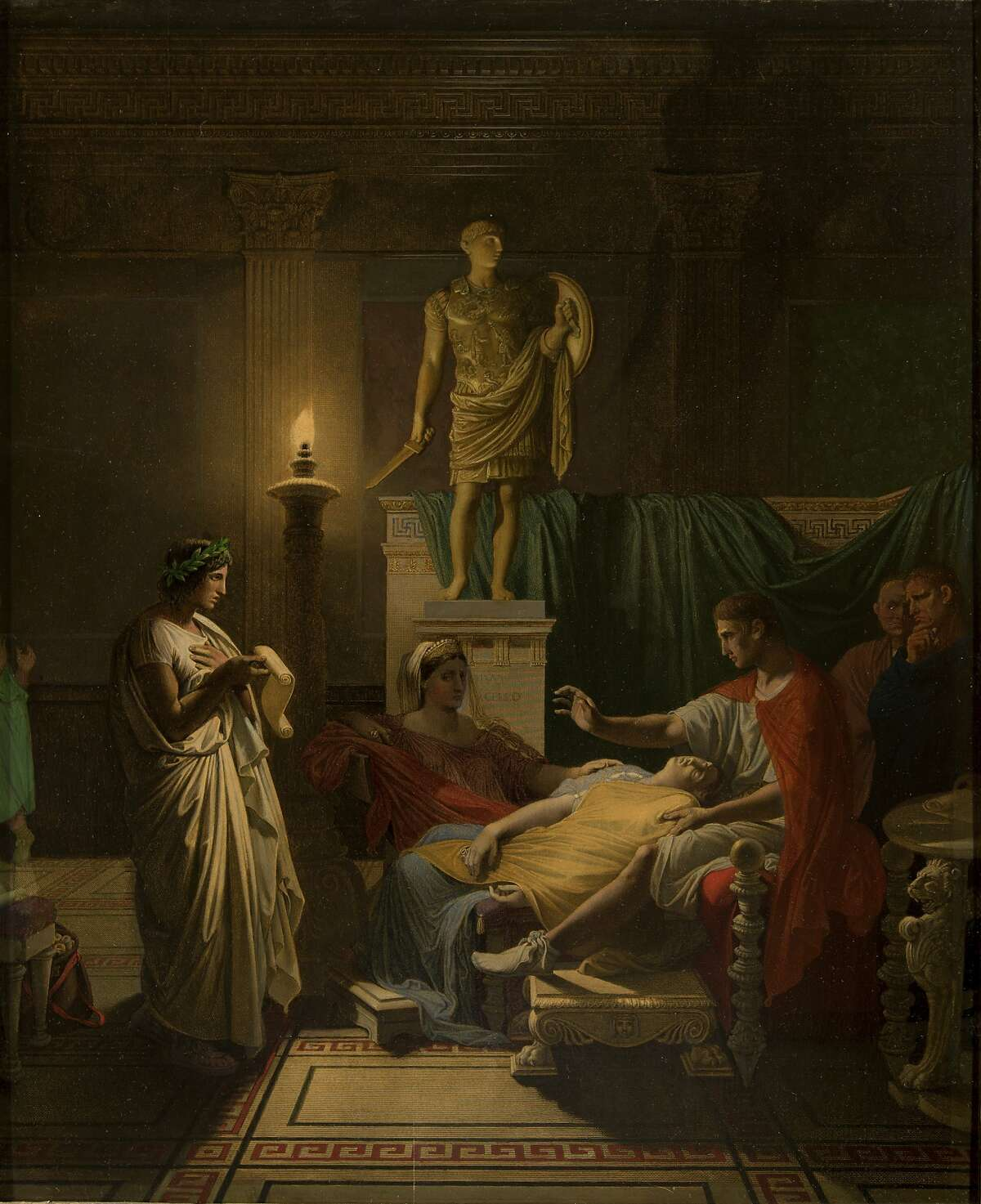 """This March 18, 2015, image provided by the La Salle University Art Museum in Philadelphia shows an 1865 oil-over-print work by French painter Jean-Auguste-Dominique Ingres titled """"Virgil Reading the Aeneid Before Augustus."""" The painting is one of 46 artworks that La Salle University in Philadelphia announced Tuesday, Jan. 2, 2018, it will sell through Christie's auction house to help fund the Roman Catholic university's five-year plan. A university spokeswoman says the sale, tentatively set to begin in March 2018, could bring between $4 million and $7 million, and possibly much more. (La Salle University Art Museum via AP)"""