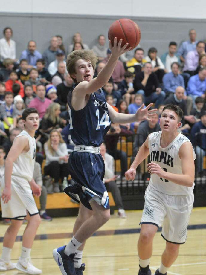 Wilton High School takes on Staples High in boys basketball on Tuesday January 9, 2018 in Westport Conn. Photo: Alex Von Kleydorff / Hearst Connecticut Media / Norwalk Hour