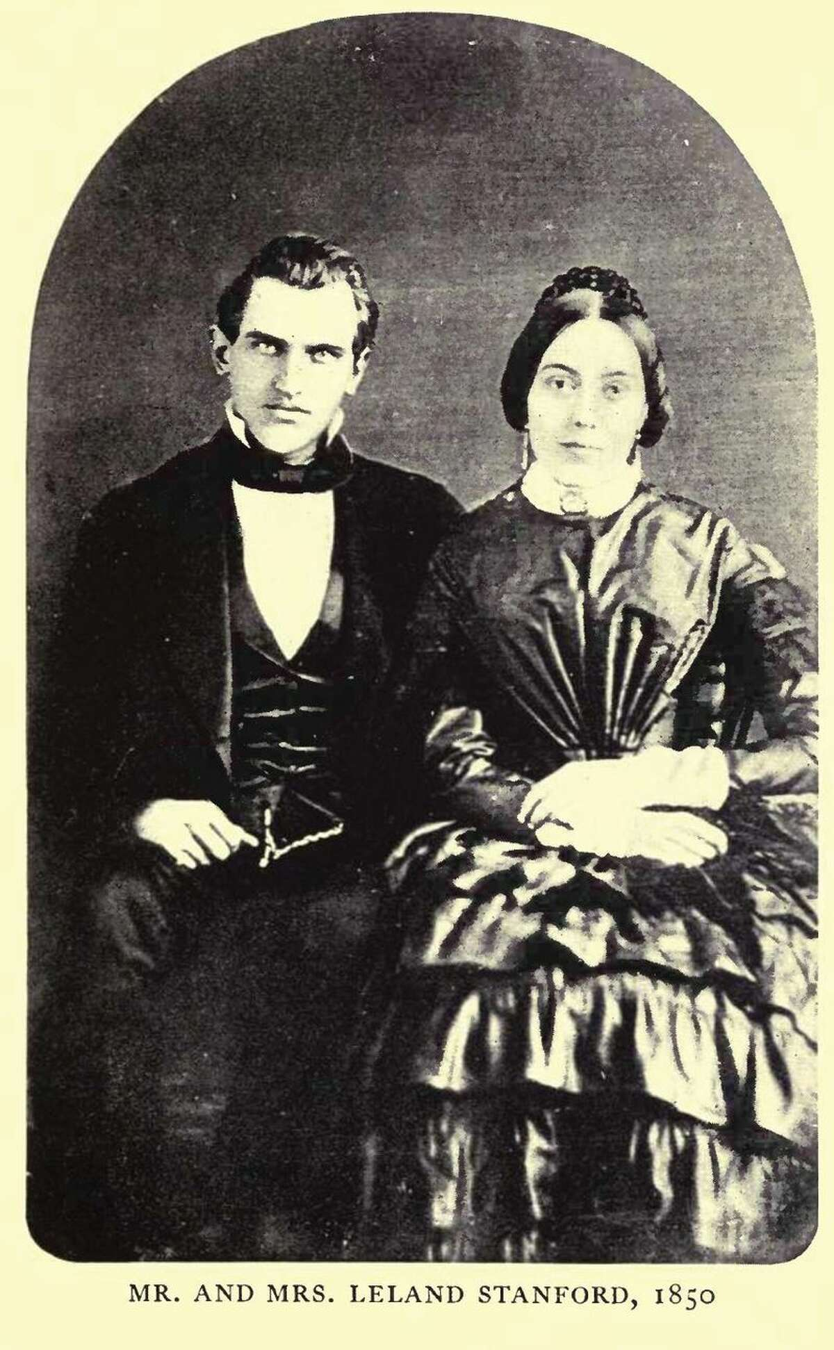 A portrait of Jane and Leland Stanford from 1850.