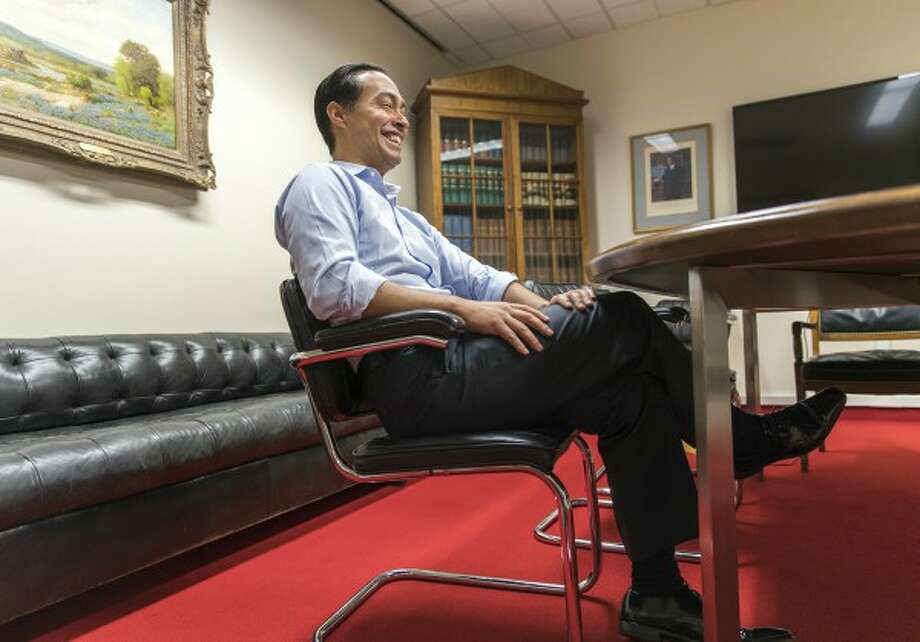 Julián Castro, shown here talking in August 2017 about joining the faculty of the LBJ School of Public Affairs, later made a Mostly True claim about DACA recipients mostly having jobs or going to school (Austin American-Statesman, RICARDO B. BRAZZIELL).