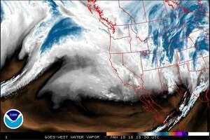 The dark blue area over the Pacific is likely to provide plenty of moisture for the weather system expected to hit the Seattle area and greater Puget Sound region Wednesday night, bringing rain and wind to the lowlands and plenty of new snow to the mountains.