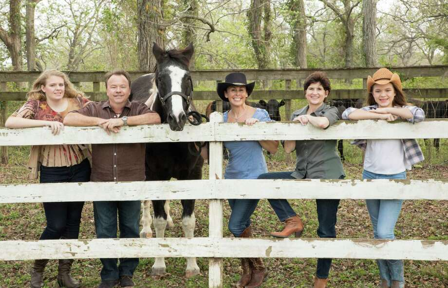 "Hope For Three Autism Advocates encourages families, friends and supporters to Saddle Up! for the 7th Annual Awareness Luncheon, ""Round Up for Autism,"" Feb. 8 at Safari Texas Ranch. From left are Anne Marie Buckle, a young lady living with autism;  John and Lisa Daugherty, presenting sponsors;  Darla Farmer, Hope For Three executive director, and Erin Buckle. Photo: Hope For Three"