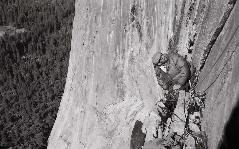 Big-wall climbing pioneer Royal Robbins relaxes on the face of El Capitan in Yosemite.
