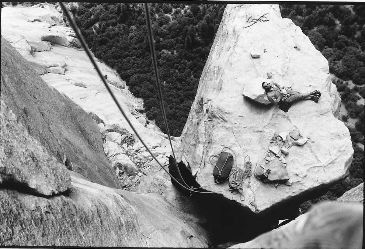 """greenfilm30.JPG Big wall pioneer Royal Robbins relaxes on a Yosemite's rock formation, El Cap Spire, during the 1960s"""" CREDIT: Tom Frost Ran on: 03-25-2010 Renowned climber Royal Robbins on the El Cap Spire formation in Yosemite during an expedition in the 1960s."""