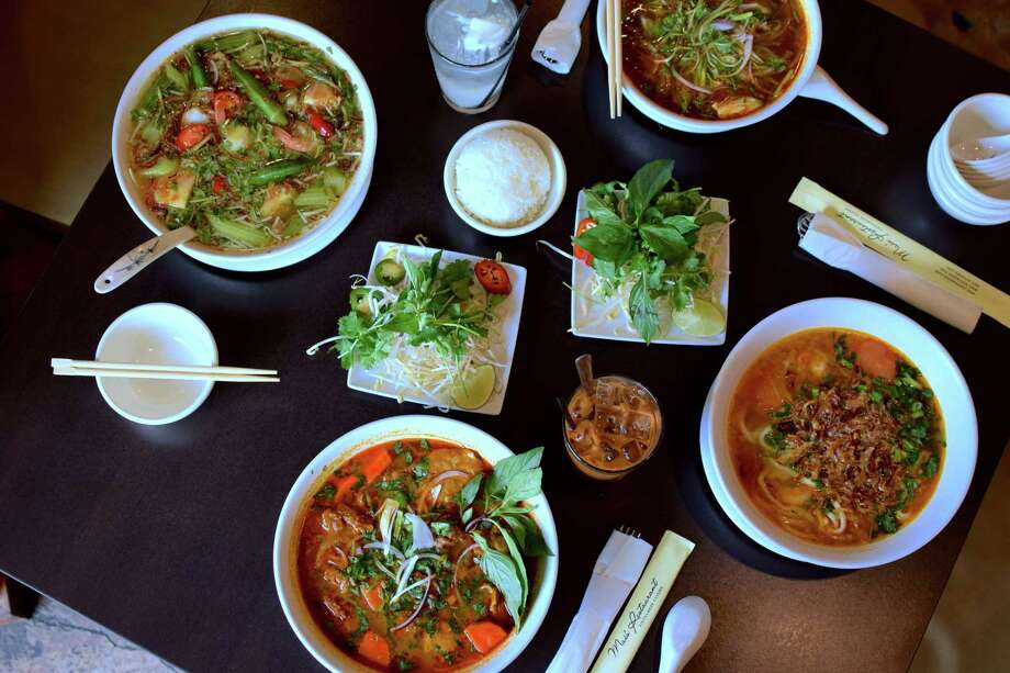 Various Vietnamese noodle soups at Mai's Restaurant in Houston Photo: Mai Pham