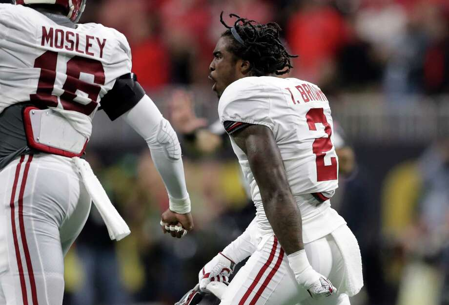 ATLANTA, GA - JANUARY 08:  Tony Brown #2 of the Alabama Crimson Tide celebrates an interception against the Georgia Bulldogs during the first quarter in the CFP National Championship presented by AT&T at Mercedes-Benz Stadium on January 8, 2018 in Atlanta, Georgia.  (Photo by Streeter Lecka/Getty Images) Photo: Streeter Lecka, Staff / 2018 Getty Images