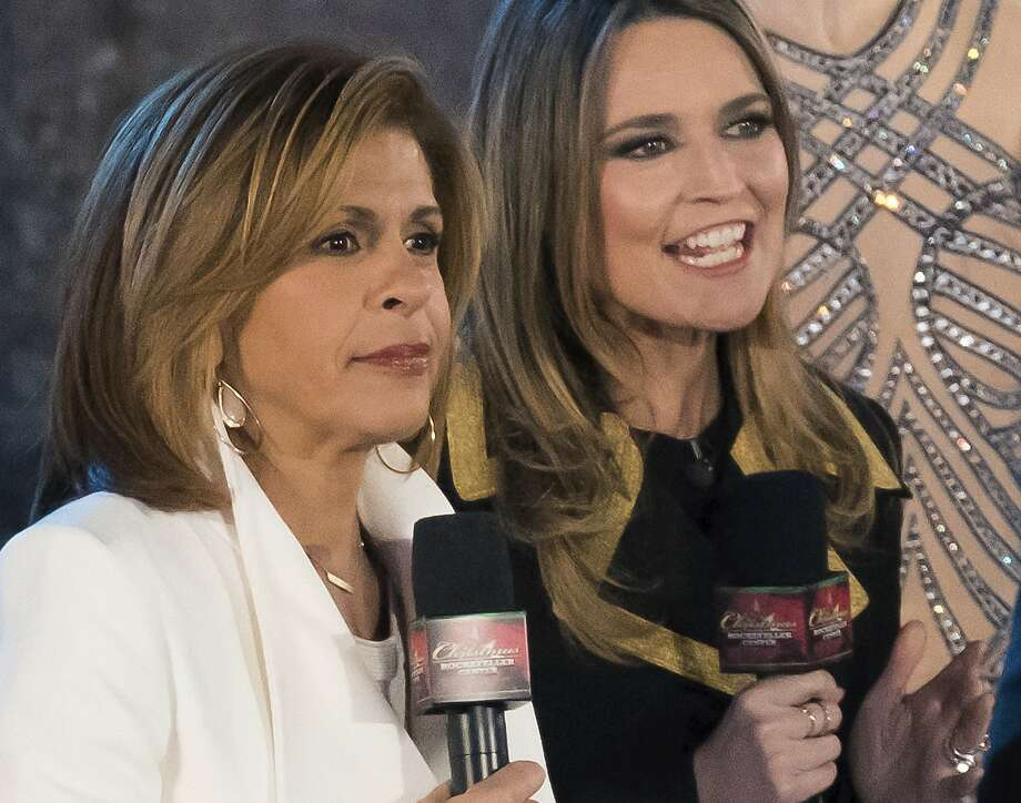 """FILE - In this Wednesday, Nov. 29, 2017, file photo, Hoda Kotb, left, and Savannah Guthrie appear during the annual Rockefeller Center Christmas Tree lighting ceremony in New York. NBC News chose Kotb to officially replace Matt Lauer on the """"Today"""" morning show after he was fired in late November, after weeks of strong ratings with her filling in with Guthrie on the show's first two hours. (Photo by Charles Sykes/Invision/AP, File) Photo: Charles Sykes, Associated Press"""