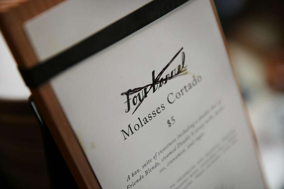 The Four Barrel Coffee name is crossed out on its menu. The company is changing its name to Tide after a settling a sexual harassment suit. Photo: Santiago Mejia, The Chronicle
