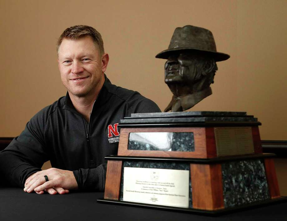 "University of Nebraska head coach Scott Frost, formerly with the University of Central Florida, with the Paul ""Bear"" Bryant award at the Hilton Americas ahead of the 32nd Annual American Heart Association's Paul ""Bear"" Bryant Awards presented by Marathon Oil Corporation, Wednesday, Jan. 10, 2018, in Houston. Photo: Karen Warren, Houston Chronicle / © 2018 Houston Chronicle"
