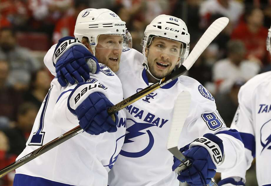 Tampa Bay center Steven Stamkos (left) and forward Nikita Kucherov are two of the four Lightning players in Sunday's All-Star Game. Photo: Paul Sancya, Associated Press