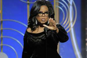 This image released by NBC shows Oprah Winfrey accepting the Cecil B. DeMille Award at the 75th Annual Golden Globe Awards in Beverly Hills, Calif., on Sunday. Some are now thinking of a presidential run for her in 2020.