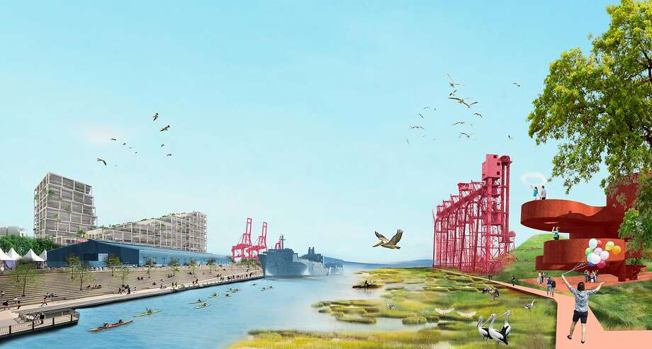 The conceptual rendering of a transformed Islais Creek in San Francisco from the design team BIG + ONE + Sherwood. It was produced as part of the still-underway Bay Area Challenge being managed by the nonprofit Resilient by Design. Photo: BIG + ONE + Sherwood