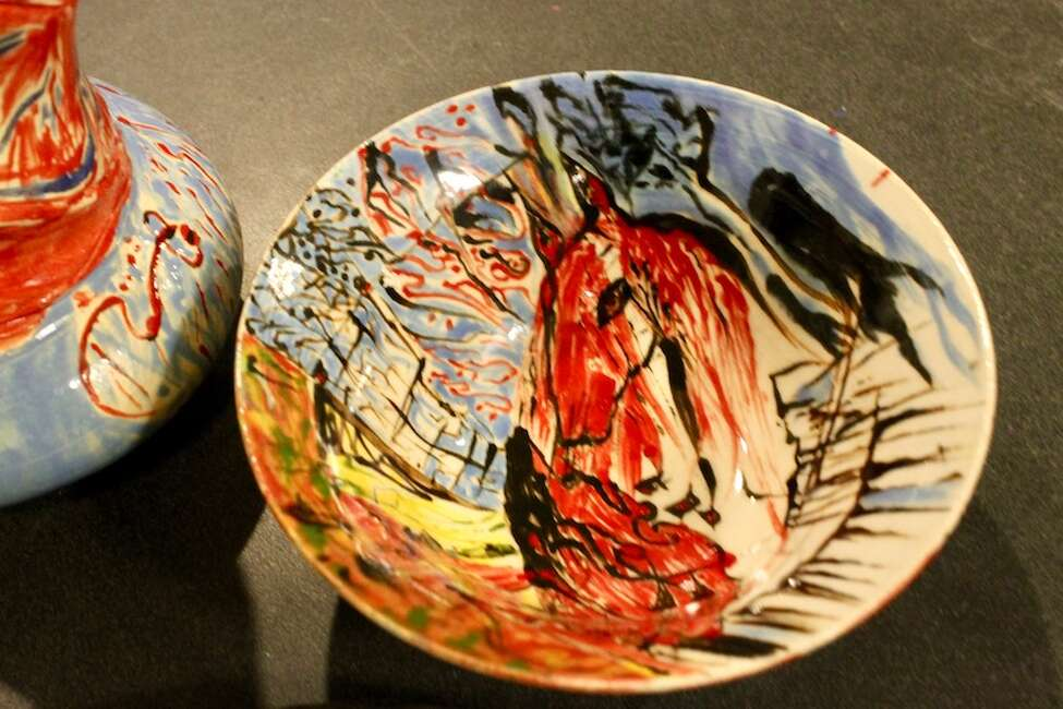 Pottery by Janine Sullivan, an instructor at the Albany Art Room, and refugee artist Koorosh Ghanbari will be on display Friday at a benefit for Refugee Immigrant Support Services of Emmaus (RISSE). (Christopher Lisio / Special to the Times Union)