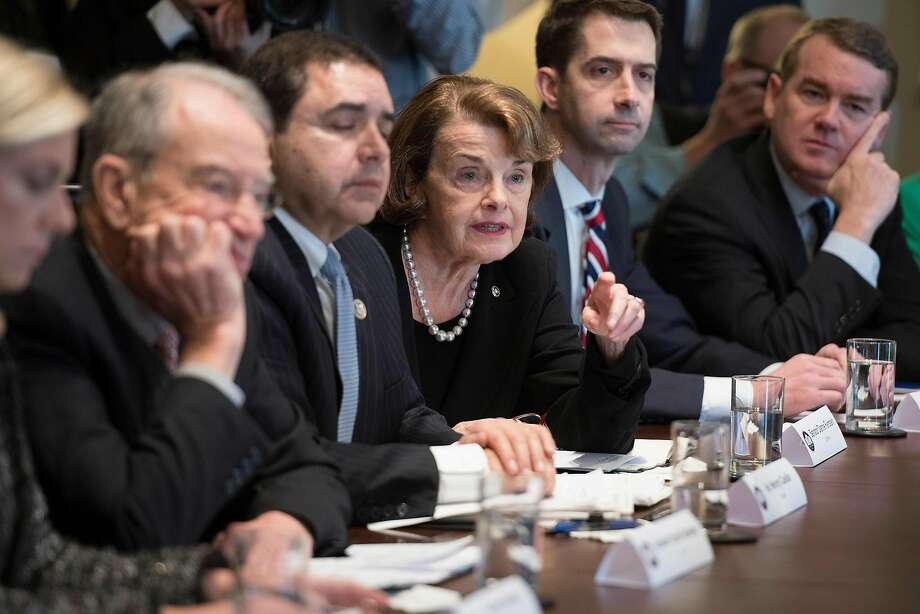 Sen. Dianne Feinstein speaks during a Tuesday meeting with President Trump on immigration. Photo: JIM WATSON, AFP/Getty Images