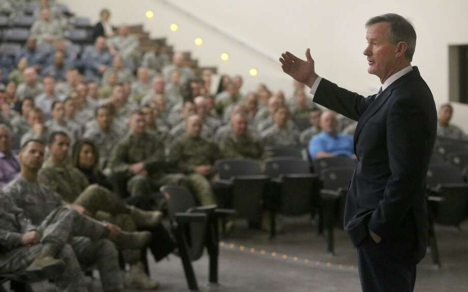 Retired Admiral William McRaven (right) speaks Wednesday January 10, 2018 at Joint Base San Antonio- Lackland. McRaven led the planning for the Seal Team 6 raid that killed Osama bin Laden. Addressing the Airman Heritage Museum and Enlisted Character Development Center's Profiles in Leadership lecture series, he spoke about leadership qualities. McRaven is also the University of Texas System Chancellor. Photo: John Davenport / San Antonio Express-News / ©John Davenport/San Antonio Express-News