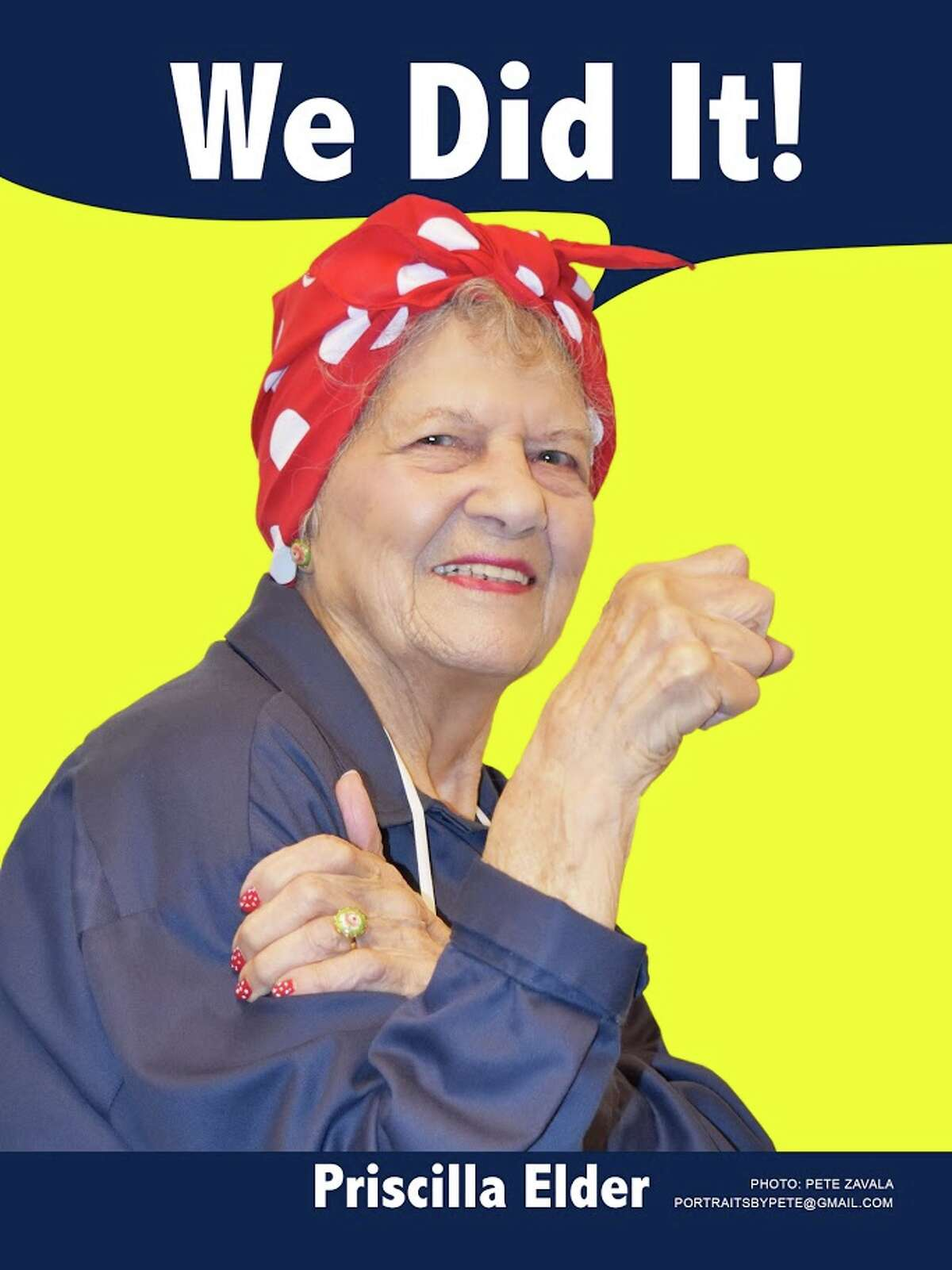 Priscilla Elder poses in the infamous style of the Rosie the Riveter posters in this photo released by the Rosie the Riveter WWII Home Front National Historical Park. Elder worked in the Kaiser shipyard and later returned to the newly-formed park as a volunteer.