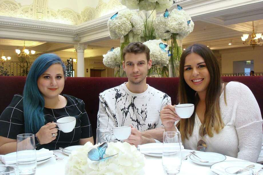 Graduate students Dylan Lochridge-Fletcher, Joshua Morrison and Breanna Salinas have tea at The Georgian during their summer Texas State University Study Abroad trip to London. Photo: Sandy Rao / Texas State University
