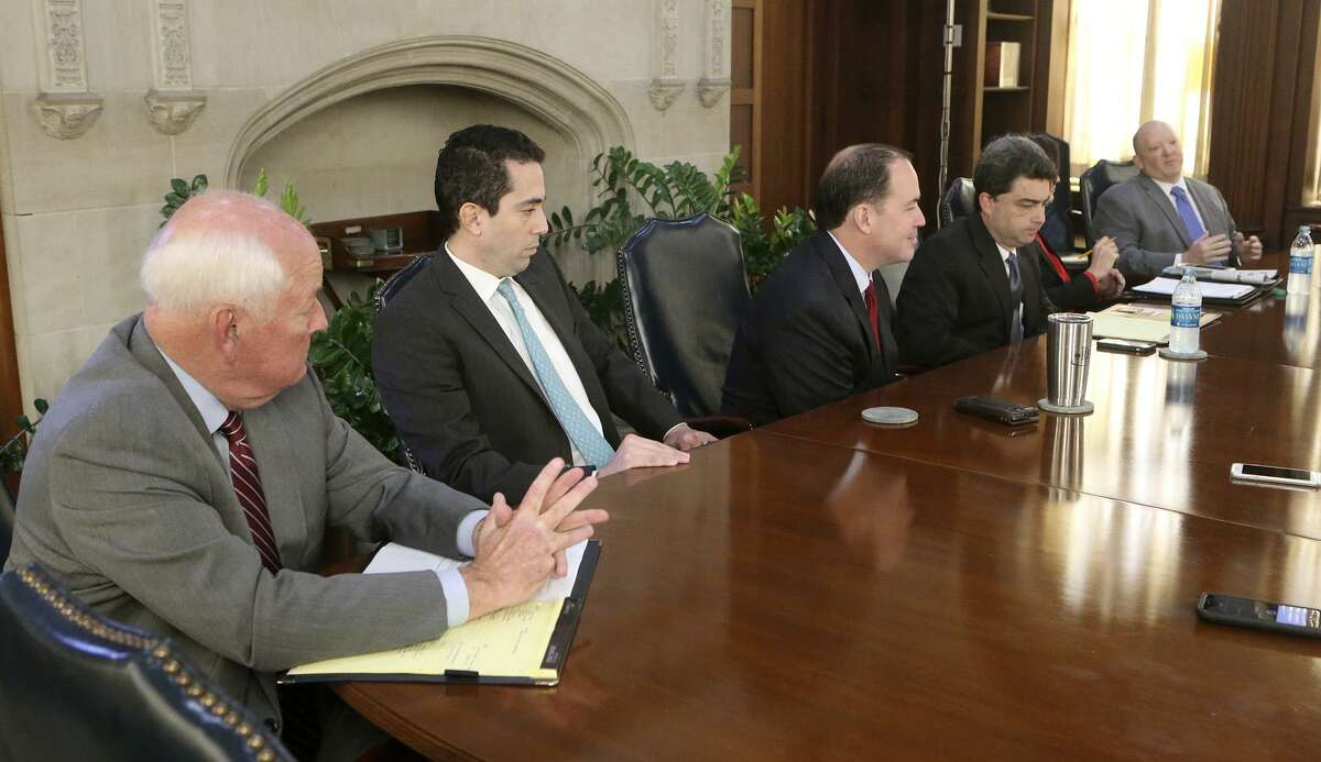 Republican candidates for Texas House District 121 met with the San Antonio Express-News editorial board Wednesday Jan. 10, 2018. The seat is being vacated by Speaker Joe Straus. The candidates are: (from left to right) Steve Allison, Marc Whyte, Matt Beebe, Carlton Soules, Charlotte Williamson, and Adrian Spears.