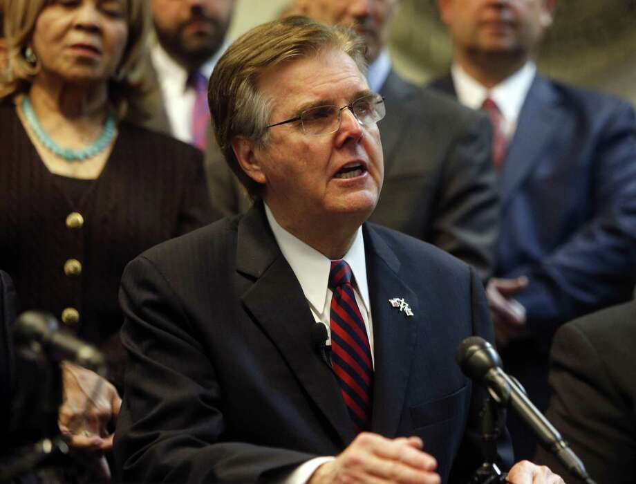 """Texas Lt. Gov. Dan Patrick, seen on Jan. 9, in Dallas, claimed in a campaign graphic that """"criminal aliens"""" committed more than 500,000 Texas crimes in recent years. Photo: Rose Baca /The Dallas Morning News / Rose Baca, The Dallas Morning News"""