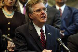 """Texas Lt. Gov. Dan Patrick, seen on Jan. 9, in Dallas, claimed in a campaign graphic that """"criminal aliens"""" committed more than 500,000 Texas crimes in recent years."""