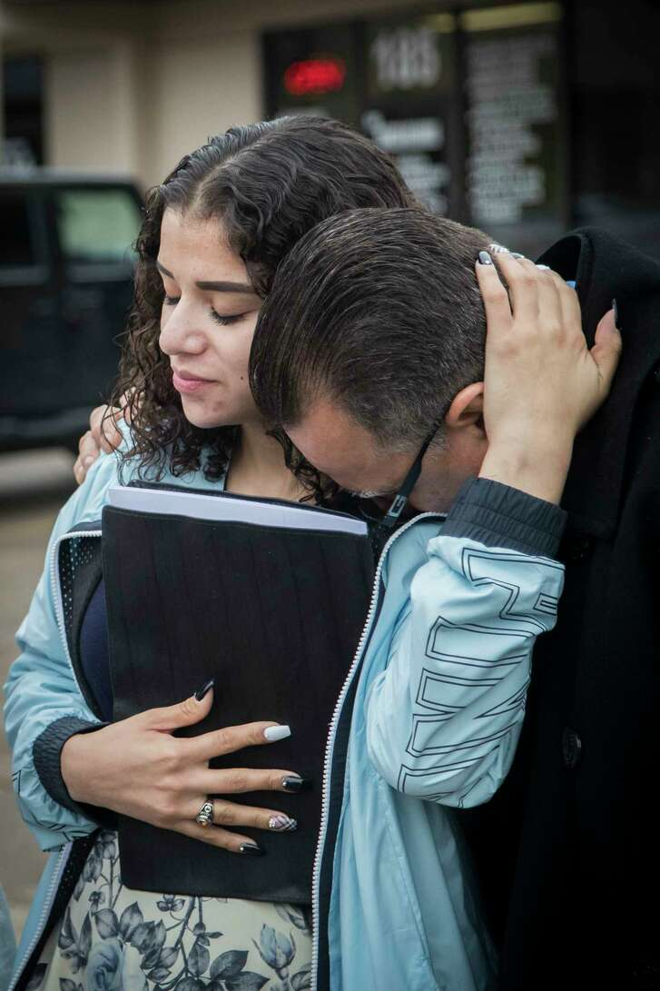 Juan Rodriguez rests his head on his daughter Karen Rodriguez's shoulder relieved that he got another 30-day extension to stay in the United States with his family as his immigration case goes to be reviewed by an immigration board. Wednesday, Jan. 10, 2018, in Houston. ( Marie D. De Jesus / Houston Chronicle )