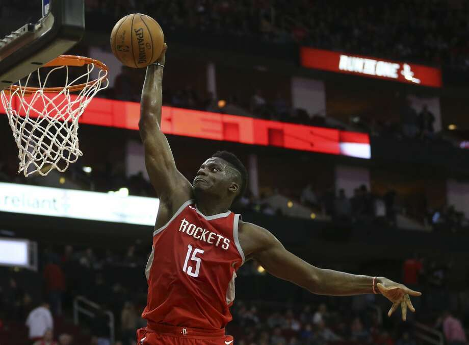 Clint Capela's words after the Rockets' win over the Warriors riled up Kevin Durant, but the Rockets' fourth-year center has backed up his words and proved to be a key cog in the team's success so far this season. Photo: Yi-Chin Lee/Houston Chronicle