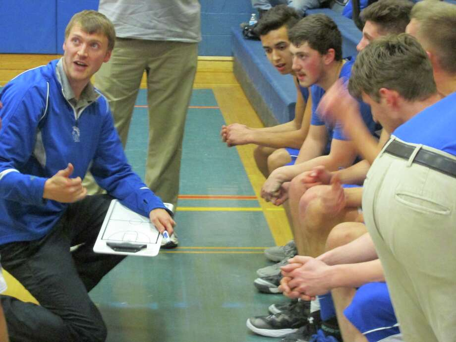 Lewis Mills coach Jim Barone had his defending Berkshire League champions headed back the right way in a big win at Gilbert Wednesday night. Photo: Peter Wallace / For Hearst Connecticut Media