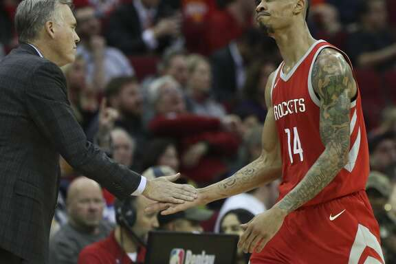 Houston Rockets guard Gerald Green (14) high-fives head coach Mike D'Antoni as he is leaving the game during the fourth quarter of the NBA game against the Portland Trail Blazers at Toyota Center on Wednesday, Jan. 10, 2018, in Houston. The Houston Rockets defeated the Portland Trail Blazers 121-112. ( Yi-Chin Lee / Houston Chronicle )